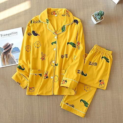 STJDM Bata de Noche,Conjunto de Pijamas de algodón de Punto de otoño para Mujer, Pijamas de Mujer de Manga Larga de León de Dibujos Animados Lindo de Corea, Pijamas de Mujer XL YellowCows