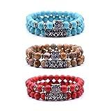 crintiff - Trois Bracelets Chouette en Perles avec tête de Hibou - Bracelets Porte Bonheur - Couleurs Rouge, Turquoise et Marron