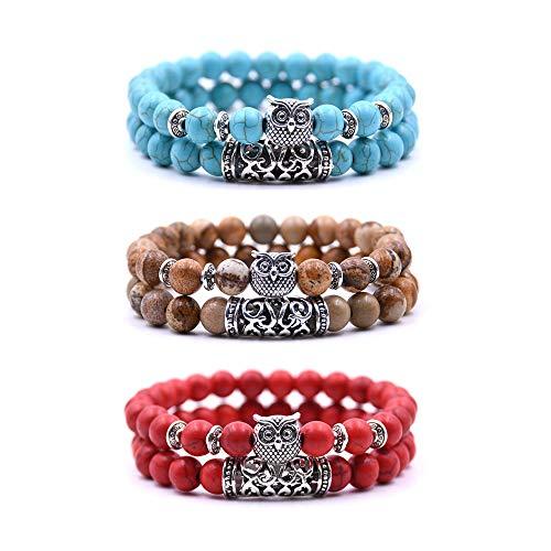 Bracelet Chouette Armband mit Eulendesign, Perlenarmband, Glücksbringer, 5, 3 Stück - Rouge, Turquoise et Marron