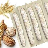 KLYNGTSK Panadero Lino para Hacer Baguettes y Panes Paño de Fermentación Antiadherente Tela Panadero Reutilizable Paño Panadero para Fermentación Rápida de la Masa (90 x 60cm)