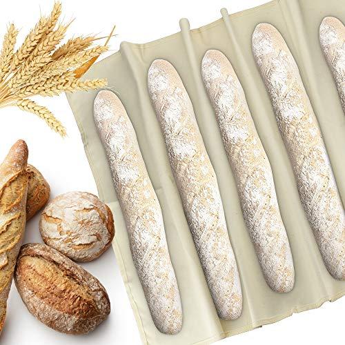 KLYNGTSK Tissu de Boulanger Professionnel 90*60CM Couche de Boulanger Antiadhésif Toile de Lin Boulangerie Naturel Fermentée de Boulangers de Tissu pour Cuisson des Baguettes, Fermentation de la Pâte