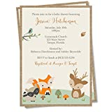 Woodland Friends Baby Shower Invitations Forest Animals Invites Fox Burlap Gender Neutral Unisex Custom Personalized Printed (12 count)