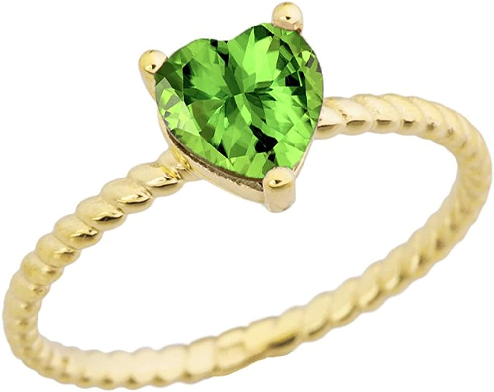Dainty 10k Yellow Gold Heart-Shaped Peridot Solitaire Rope Engagement/Promise Ring