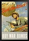 WPA War Propaganda Back The Attack Buy War Bonds WWII War Savings Motivational Art Print Stand or Hang Wood Frame Display Poster Print 9x13