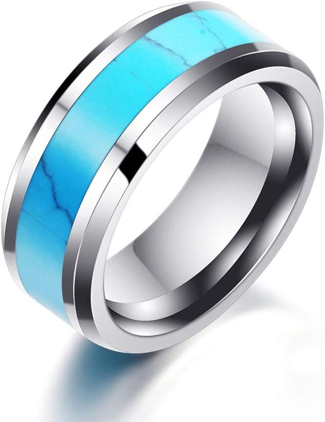 Simulated Blue Turquoise Inlay Limited price A surprise price is realized Couples Band Titanium Wedding Rin