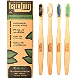 Eco-Friendly Biodegradable Bamboo Toothbrush: Multicolored Pack of 4 Compostable Adult Toothbrushes with BPA Free Soft Nylon Bristles (Plastic Free Packaging)