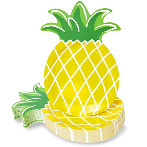 Yellow Pineapple Paper Plates for Party Supplies, Hawaiian Themed Parties or Luaus (10 x 6 In, 48 Pack)