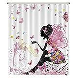 Badezimmer-Duschvorhang, Feen-Mädchen mit Flügeln in einem Blumenkleid, 152,4 x 183,9 cm, Fenster mit Metallhaken.
