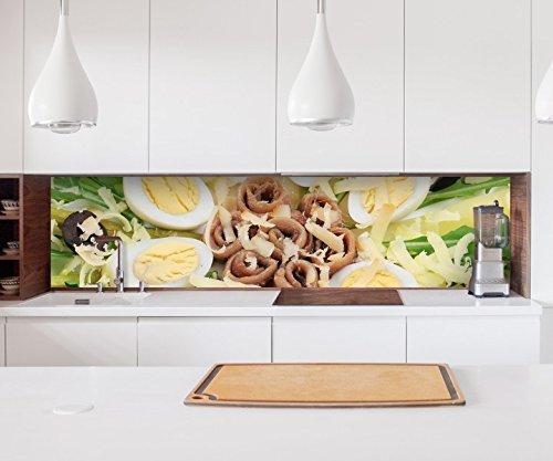 Aufkleber Küchenrückwand Spargel Eier Salat Ei Gemüse Essen Küche Folie selbstklebend Fliesen Möbelfolie Spritzschutz 22A1016, Höhe x Länge:80cm x 150cm