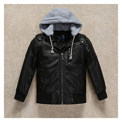Chaqueta cálida y cómoda fácilmente. Niños Coat Fall PU Cuero Negro Grueso Niños con capucha Chaqueta Casual Chaqueta para niños pequeños Chaquetas de invierno para niñas para bebés Abrigos 3-11Y