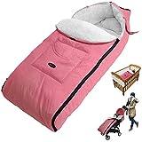 Winterfusssack, Plüsch Fußsack, Winter Baby Kuschelsäckchen, Universal Kinderwagen Schlafsack, Wasserdicht Winddicht Komfortable Foot Muff (Babys über 12 Monate) (Pink)