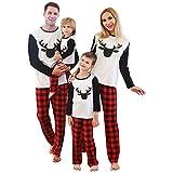 SANMIO Pijamas Familiares de Navidad, AlgodónTop de Manga Larga + Raya Pantalones Pijama Dos Pieza Mujer Hombre Niños Niña Ropa de Dormir para Mameluco