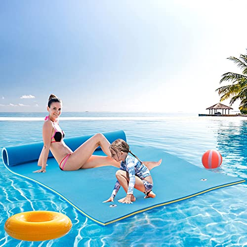 ECOTOUGE Floating Mat 18x6, 3-Layer Foam Floating Water Pad (Durable, Roll-up) for Pool, Beach Recreation and Relaxing Blue and Yellow