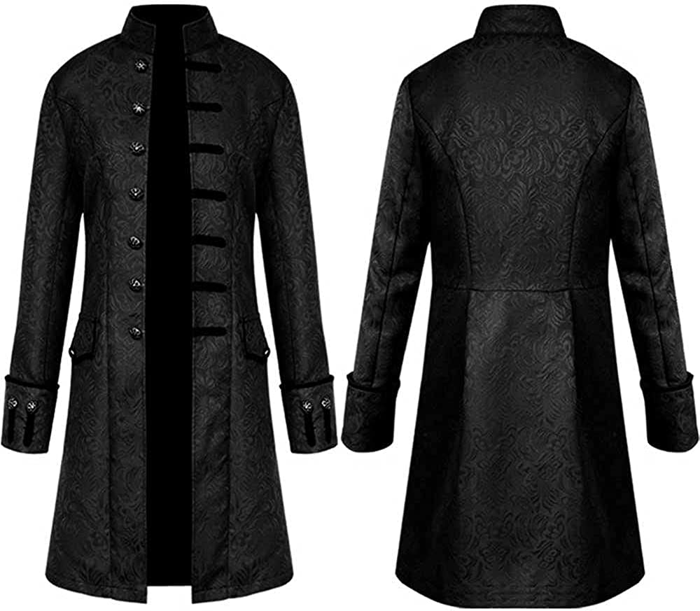Men'S Winter Formal Coat Overcoat Evening Windbreaker Vintage Punk Jacket Winter Warm Tailcoat Outwear Buttons Coat