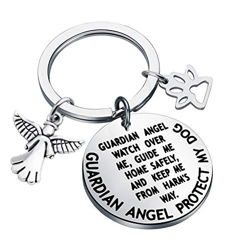 MYOSPARK Guardian Angel Protect My Dog Pet Protection Stainless Steel Pendant Collar Charm (Dog protection keychain)