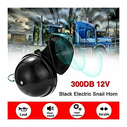 YANGQI yaoqijie Universal Car Styling ruidal 300dB 12V 24V Negro Caracol eléctrico Cuerno Cuerno de Aire furioso Sonido Apto para Coche camión de Motocicleta Barco Barco Lasting (Color : 12V)