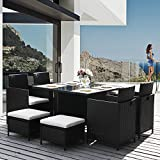 Garden Rattan Dining Table and Chairs Outdoor Rattan Furniture Set 9 Pieces Rattan Dining Furniture Set (9 PCS-Black)