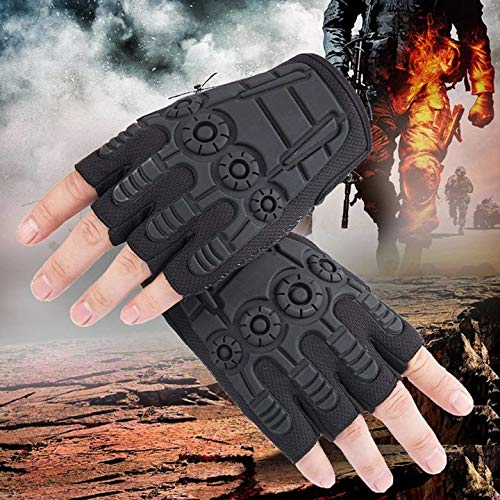 K1, Cafe Adults Outdoor Hiking Half Finger Gloves Climbing Reinforced Palmm Anti-Skid MTB Cycling Glove with Hard Brack