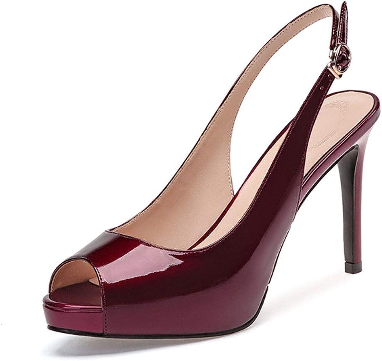 DCYU Sommer Sandalen weibliche Fischmundstück Stiletto Heels lackiert Damenschuhe (Farbe   Rot, gre   39 1 3 EU)