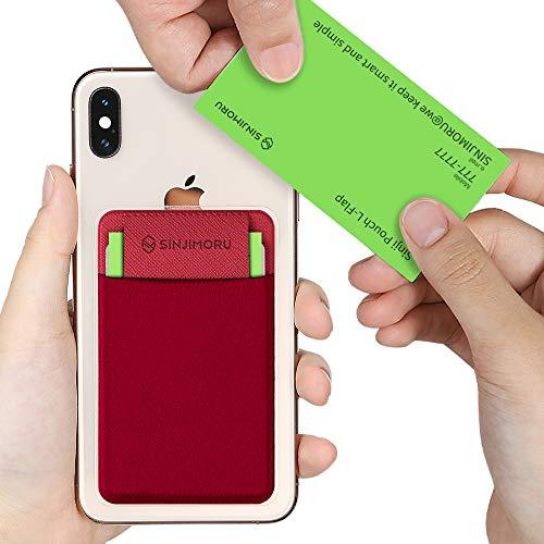 Sinjimoru 名刺入れ、 iPhone・アンドロイド スマホに張り付ける Suica・定期 パスケース、 張り直し便利 カード入れ Card Holder Sinji Pouch L-FLAPレッド。