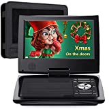 SUNPIN 11' Portable DVD Player for Car and Kids with 9.5 inch HD Swivel Screen, 5 Hour Rechargeable Battery, Dual Earphone Jack, Supports SD Card/USB/CD/DVD, with Extra Headrest Mount Case (Black)