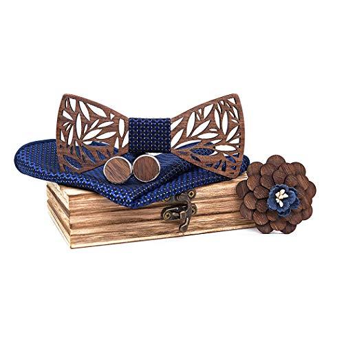 ZOYLINK Hölz Fliege Herren, Handgefertigte Holzfliege Herren Holzfliege ManschettenknöPfe Corsage Quadratischer Schal Fliege Set (Blau)