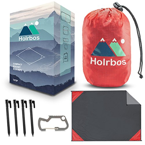 """Holrbos Compact Outdoor Pocket Blanket   Water Resistant + Sand Proof Mat Best for Beach, Picnic, Camping, Hiking   Included 2 in 1 Carabiner Bottle Opener, Ground Stake Kit - Large 82""""x56"""