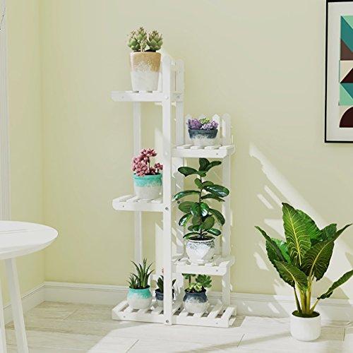 Support de fleur en métal Support de fleur Étagères en bois Intérieur et extérieur Multicouche Espace économisant l'espace bois massif Décoration de balcon Salle de séjour de radis vert (taille : C)