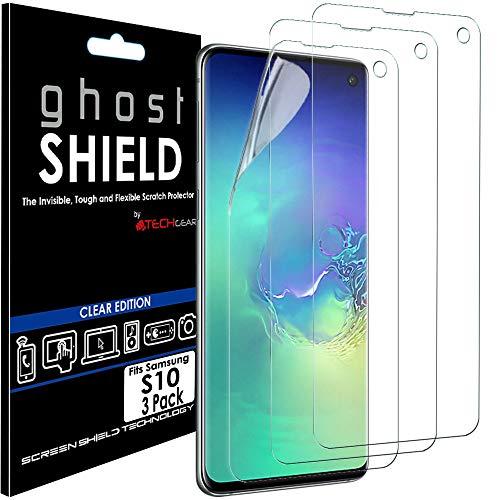 TECHGEAR [3 Stück Displayschutz Kompatibel mit Samsung Galaxy S10 - [Ghostshield] Genuine verstärkte TPU Displayschutzfolie Guard mit Gesamte Bildschirm Deckung inkl. Gebogener Bereich