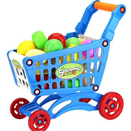 Zantec Juguetes Creativos, Juguetes de supermercado de plástico Carro de Compras con Frutas Juguete de Cocina en Miniatura Bebé Juguete Educativo temprano