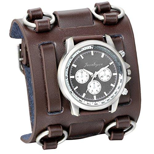 JewelryWe Herren Armbanduhr, Analog Quarz, Fashion Elegant Casual Sport Uhr mit Braun Breit Leder Armband & Schwarz Rund Zifferblatt Vatertagsgeschenk