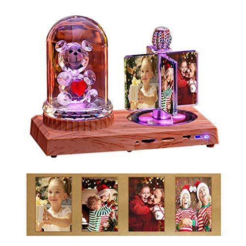 Personalisierte 4 Foto drehen Windmühle Licht Kristall Lampe Bluetooth Musik LED Nachtlicht Fotorahmen Personalisierte Geschenk für Geburtstag Freunde Geschenke Auto Dekor