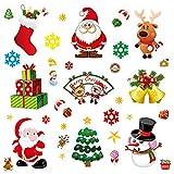 JPYH 10 PCS Noël Autocollants Noel Stickers Fenetre Noël Décoration DIY Bonhomme de Neige Renne Père Noël pour Noël Décorations Autocollant Amovibles Statique Autocollants