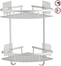Hawsam No Drilling Bathroom Corner Shelves, Aluminum 2 Tier Shower Shelf Caddy Adhesive Storage Basket for Shampoo