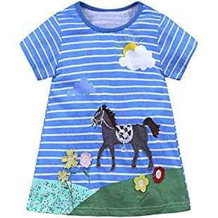 Winkey Baby Girl Dresses Toddler Kids Cartoon Striped Long Tshirt Dress 1-6 Years (3 Years, Sky Blue ❤️ Horse)