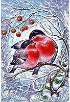 刺繍キットクロスステッチ刺しゅう工芸品木の上の雪の季節の鳥刺繍初心者手作りのの針仕事(11CT)大人の子供手芸ギフトキット家具装飾40x50cm,アユニークな家の装飾