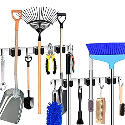 Amazon - 55% Off on 2 Pack Mop and Broom Holder Wall Mount, Kitchen and Bathroom Household