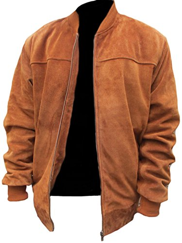 Classyak Men's Fashion Stylish Real Leather Jacket Suede Brown X-Large