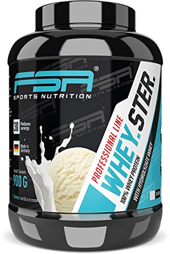 Whey Protein Eiweißpulver - Besser als ein Milchshake - Aspartamfrei, Laktosearm - Made in Germany - FSA Nutrition - 900 g - Vanilla Ice Cream