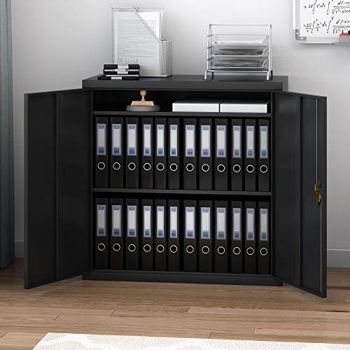 shougui handel Heavy Duty Steel Filing kabinet, zwart Office File Storage Unit kabinet 2 deur metalen kast Indienkast voor Office Slaapkamer Woonkamer