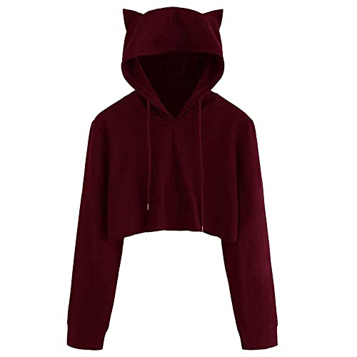 245fb19934 rocicaS Women s Long Sleeve Fashion Hooded Cat Ear Solid Crop Tops Casual  Jumper Pullover Blouses Top