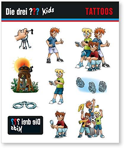 9-tlg. Tattoo-Set * DIE DREI ??? KIDS * als Mitgebsel oder Geschenk | 3 Fragezeichen Sticker Bilder Kinder Kindergeburtstag Geburtstag