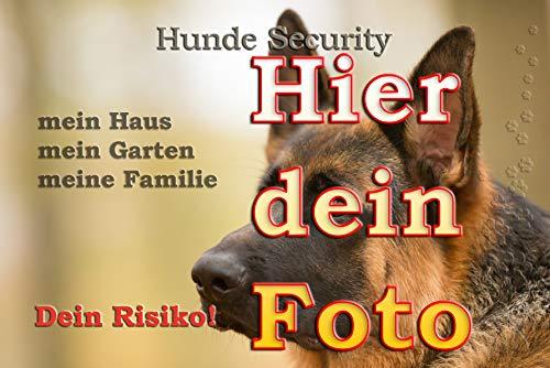 Merchandise for Fans Blechschild/Warnschild/Türschild - Aluminium - 15x20cm - - Hunde Security - Personalisiert mit eigenem Foto individuell gestalten
