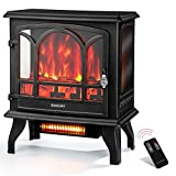 Euhomy Electric Fireplace Heater with Remote Control, 23' Indoor Freestanding Fireplace Stove with Realistic Flame Effect, 1400W Space Heater, Overheat Auto Shut Off Safety Function, CSA Certified