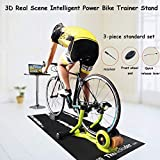 ZXYY 3D Real Scene Intelligent Power Bike Trainer Stand Multifunctional Power Folding Liquid Resistance Bicycle Turbo Trainer Cycling Roller Indoor Cycling Exercise Fitness Rack 3 pièces Ensemble