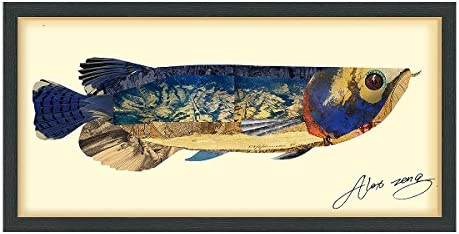 Empire Art Direct Arowana Dimensional Collage Handmade by Alex Zeng Framed Graphic Fish Animal product image