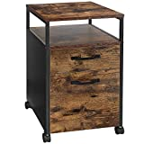VASAGLE Rolling File Cabinet, Mobile Office Cabinet on Wheels, with 2 Drawers, for A4, Letter Size, Hanging File Folders, Industrial Style, Rustic Brown and Black UOFC71X