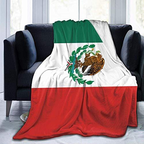 wonzhrui Abrigo de sofá, Manta de Microfibra, Manta lanuda, Mantas, Manta de Franela con Bandera de México para Hombres y Mujeres para sofá Cama