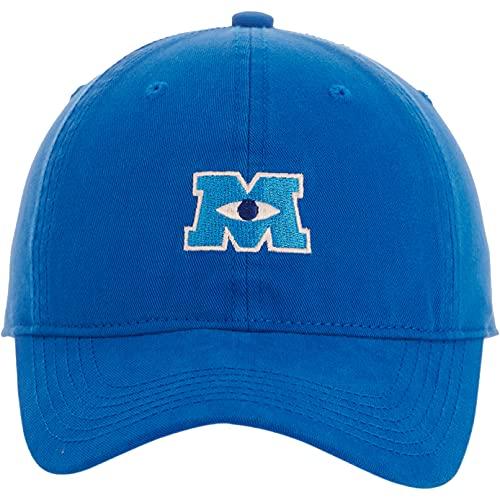 Disney Pixar Monsters Inc Embroidered Cotton Adjustable Baseball Hat with Curved Brim, Blue, Large