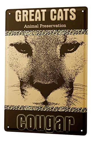 LEotiE SINCE 2004 Targhe Cartello Targa in Metallo Decorazione della Parete Gatto Puma Big Cat Piastra Insegna Metallica 20X30 cm